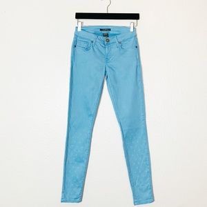 Denim Of Virtue | Blue Skinny Jeans heart Printed